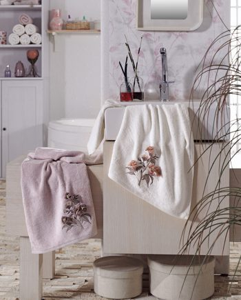 bamboo towel with 3D flowers