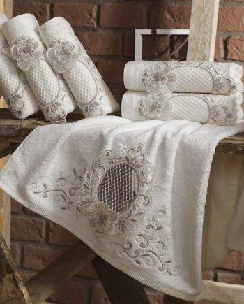 Towel with lace and embroidery