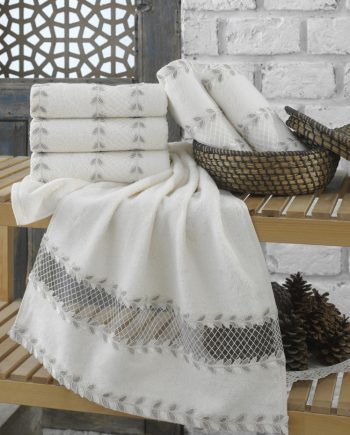 bamboo towel with lace
