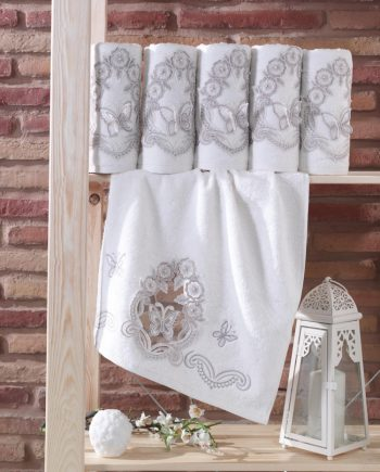 bamboo towel with lace and 3D butterflies