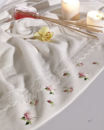 bamboo towel with lace and embroidery