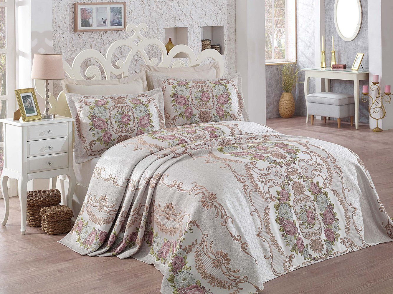 bedspread with embroidery and two decorative pillowcases